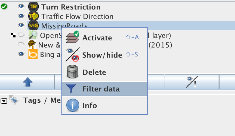 Access the data filters using a right-click on the layer panel